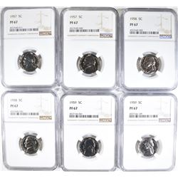 6 JEFFERSON NICKELS NGC PF-67