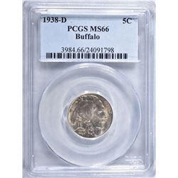 1938-D BUFFALO NICKEL, PCGS MS-66