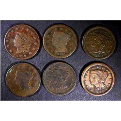 1832-42-46, 2-48, 1853 LARGE CENTS, VARIOUS GRADES