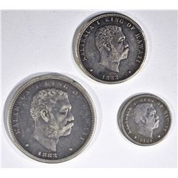 1883 HAWAII COINS: XF DIME, VF QUARTER & XF HALF