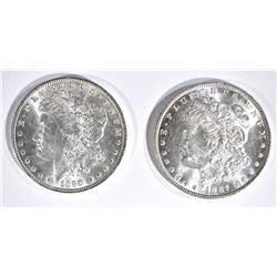 1887 & 90 CH BU MORGAN DOLLARS