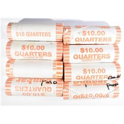 BU WRAPPED STATE QUARTER ROLLS: $80 FACE VALUE