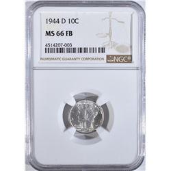 1944-D MERCURY DIME NGC MS-66 FB