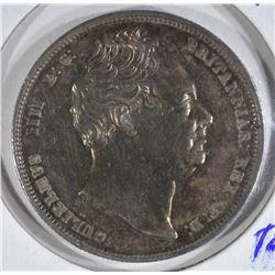 1836 SILVER 1/2 CROWN ENGLAND  CH.AU