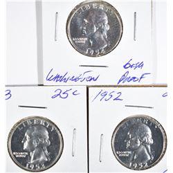 1952, 1953, 1954 WASHINGTON QUARTERS