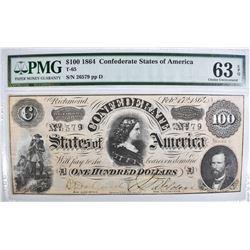 1864 $100 CONFEDERATE STATES OF AMERICA