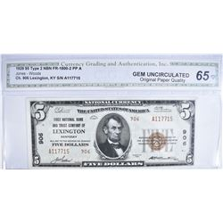 1929 TYPE 2 $5 NATIONAL CURRENCY