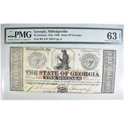 1862 $5 STATE OF GEORGIA PMG 63EPQ