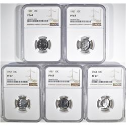 5-NGC GRADED PF-67 ROOSEVELT DIMES