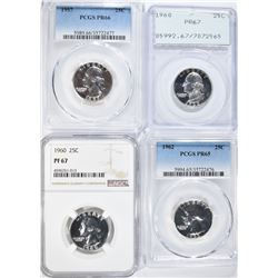 4-PROOF GRADED WASHINGTON QUARTERS:
