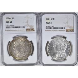 1884-O NGC MS-61 & 86 NGC MS-62 MORGAN DOLLARS