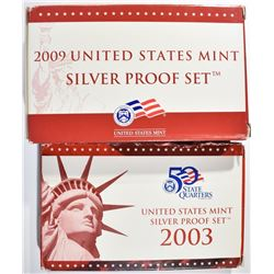 2003 & 2009 U.S. SILVER PROOF SETS, ORIG PACKAGING