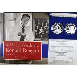 RONALD REAGON SILVER COIN SET WITH BOOK