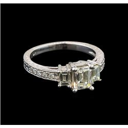 14KT White Gold EGL USA Certified 1.55 ctw Diamond Ring