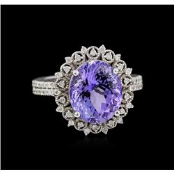 5.80 ctw Tanzanite and Diamond Ring - 14KT White Gold