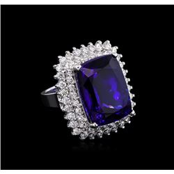 14KT White Gold GIA Certified 27.79 ctw Tanzanite and Diamond Ring