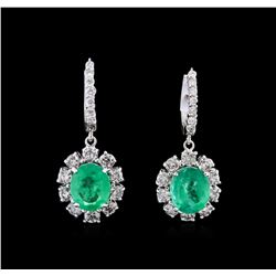 5.54 ctw Emerald and Diamond Earrings - 14KT White Gold