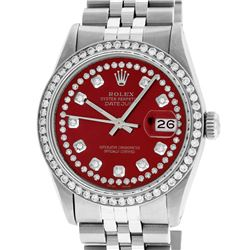 Rolex Mens Stainless Steel Red String Diamond 36MM Datejust Wristwatch