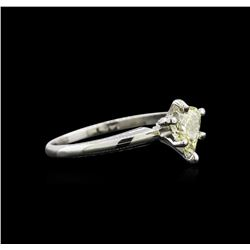 GIA Cert 0.74 ctw Diamond Solitaire Ring - 14KT White Gold