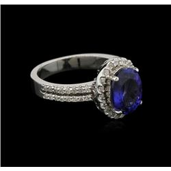 2.81 ctw Tanzanite and Diamond Ring - 14KT White Gold