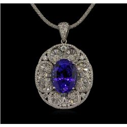 21.34 ctw GIA Cert Tanzanite and Diamond Pendant With Chain - 14KT White Gold