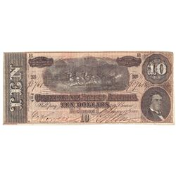 1864 $10 Confederate States of America Note