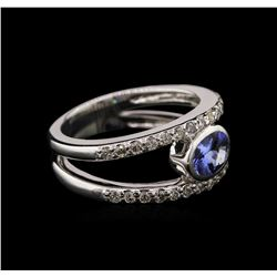 0.74 ctw Tanzanite and Diamond Ring - 14KT White Gold