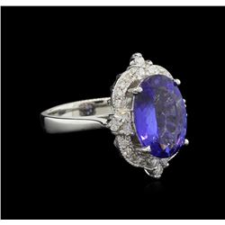 4.41 ctw Tanzanite and Diamond Ring - 14KT White Gold