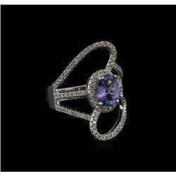 1.50 ctw Tanzanite and Diamond Ring - 14KT White Gold