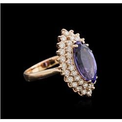 3.11 ctw Tanzanite and Diamond Ring - 14KT Rose Gold
