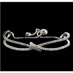 2.55 ctw Diamond Bangle Bracelet - 14KT White Gold