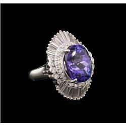 8.96 ctw Tanzanite and Diamond Ring - Platinum