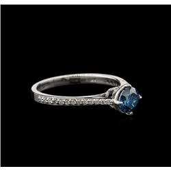 0.83 ctw Blue Diamond Ring - 14KT White Gold
