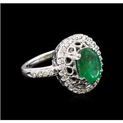 1.90 ctw Emerald and Diamond Ring - 14KT White Gold