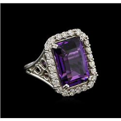 12.85 ctw Amethyst and Diamond Ring - 14KT White Gold