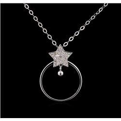 0.16 ctw Diamond Necklace - 14KT White Gold