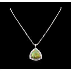14KT White Gold 25.72 ctw Opal and Diamond Pendant with Chain