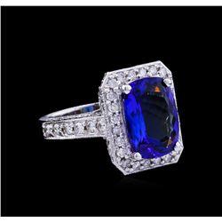 4.85 ctw Tanzanite and Diamond Ring - 14KT White Gold