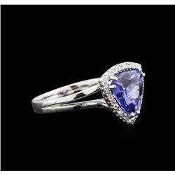 2.88 ctw Tanzanite and Diamond Ring - 14KT White Gold