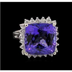 14KT White Gold 12.95 ctw GIA Certified Tanzanite and Diamond Ring