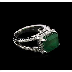 5.35 ctw Emerald and Diamond Ring - 14KT White Gold
