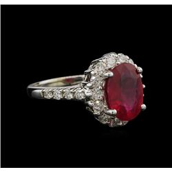 3.45 ctw Ruby and Diamond Ring - 14KT White Gold