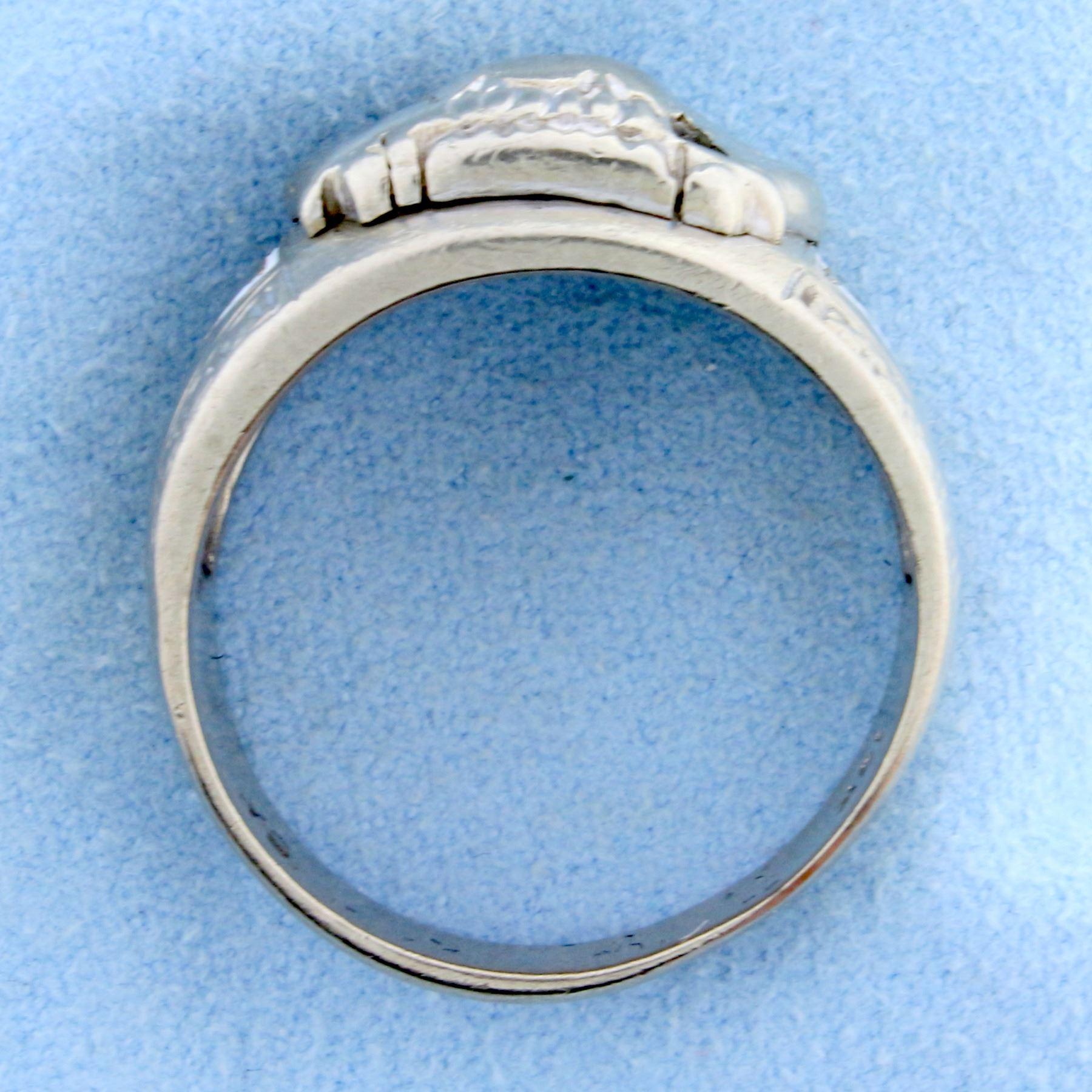 Antique 32 Degree Masonic Ring in 10k White Gold