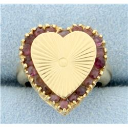 Amethyst Heart Pinky Ring in 14k Gold