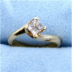 1/3ct TW Princess Cut Diamond Engagement Ring That Looks Like 1/2ct Solitaire in 14k Yellow Gold