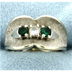 White Sapphire and Green Tsavorite Garnet Ring in 14k White Gold
