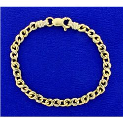 Designer Link Bracelet in 14K White & Yellow Gold