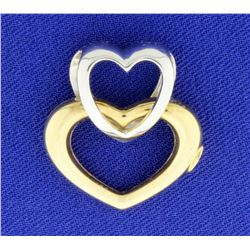 Italian Made Heart Pendant in 14k White and Yellow gold
