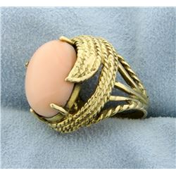 Pink Coral Ring in 14k Yellow Gold