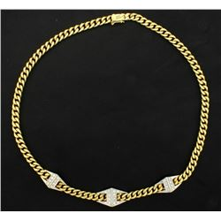 1/2ct TW Diamond Italian Made Curb Link Necklace in 18k Gold